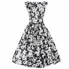 Women Vintage Rock Check Floral Printed Cocktail Prom Sleeveless Dress