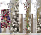 Red White Star Metal Christmas Card Hold Tidy Decoration