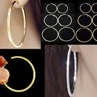 #E121B NON PIERCING CLIP ON Shine Hoop EARRINGS Spring Closure BIG SMALL NEW