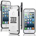 For Apple iPhone SE 5 5s 6 6s 7 Plus Slim Clear TPU Hard Case Exercise & Bacon