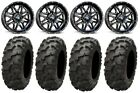 "MSA Black Vibe 14"" UTV Wheels 30"" Blackwater Tires Honda Pionner 1000"