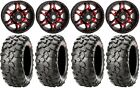 "STI HD7 14"" Wheels Red/Black 28"" Clincher Tires Yamaha Grizzly Rhino"