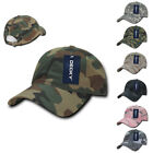 Decky Relaxed Cotton Camo Camouflage Low Crown Pre Curved Bill Dad Caps Hats