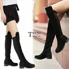 LADIES WOMENS THIGH HIGH OVER THE KNEE PLATFORM HEEL STRETCH BOOTS TXSU