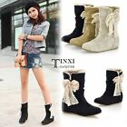 Women Winter Autumn Mid Calf Boots Lace Bowknot Low Heel Flat Wedge Shoes TXSU