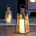 Regular or Large Stainless Steel Trapeze Battery Operated LED Candle Lantern