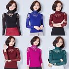 New Fashion Women Long Sleeve Lace Shirts Tops High Collar Blouses Pretty