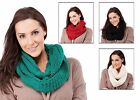 Ladies Womens Warm Chunky Snood Scarf with Lurex red black green