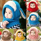 Baby Toddler Warm Hat Winter Beanie Hooded Scarf Earflap Knitted Cap Boys Girls