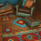 Whiskey River Turquoise Southwestern Ranch Country Cabin Rustic Nylon Area Rug