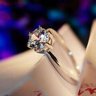 Size 5-12 White Sapphire Claw 10K White Gold Filled Women's Engagement Ring Gift