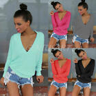 Sexy Fashion Women Loose Cotton Blend V-Neck Tops Long Sleeve T-Shirt Blouse