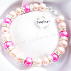 Handmade Faux Pink Pearl Bracelet Personalised with Your Choice Charm & Gift Bag