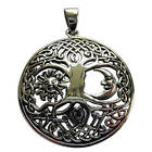 Sterling Silver 925  Tree Of Life  With Sun And Moon  Pendant  !!      New  !!
