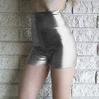Silver Metallic High Waisted Hot Shorts Shiny Pinup 50's Inspired Lame Spandex