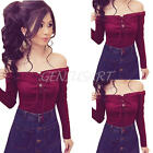 Women Casual Lace Up Tie Cold Off Shoulder Short Sleeve Tops Blouse T Shirt Tee