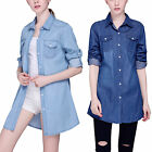 New Women Blue Cotton Denim Long Blouse Tops Loose Roll Up Sleeve Casual Shirt