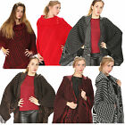 Women Ladies Hooded Aztec Wrap Shawl Poncho Winter Warm Knitted Party Night Out
