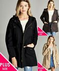 NEW Long Essential Hooded COTTON Utility Plus Size Jacket XL/1X/2X/3X FREE SHIP
