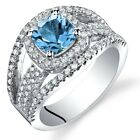 London Blue Topaz Cushion Cut Pave Ring Sterling Silver 1.00 Carats Size 5 to 9
