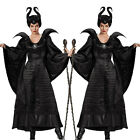Adult Maleficent Evil Queen Fancy Dress Christmas Party Cosplay Costume Black