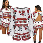 Women Long Sleeve Round Collar Floral Print Backless Clothes Shorts Suit Fashion