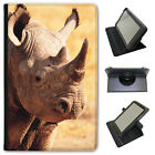 African Rhinoceros Rhino Universal Folio Leather Case For Linx Tablets