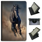 Black Strong Beauty Horse Stallion  Universal Leather Case For Linx Tablets