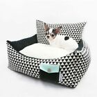 New Luxurious Black+White Handmade Pet Dog Cat Bed House Sofa Cushion Mat S M