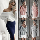 UK Womens Loose Knitted Long Sleeve Jumper Sweater Ladies Casual Knitwear Tops