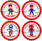Personalised Superhero Stickers for Party Bags/Sweet Cones etc Ref 01-05