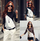 New Fashion Women Long Sleeve Casual Tops Crewneck Cotton T-Shirt Loose Blouse