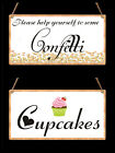 Shabby Chic Wedding Plaque Sign. Help yourself to some Confetti.  Cupcake Plaque
