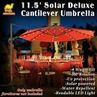 Outdoor 11.5' Deluxe Cantilever Patio Hanging SOLAR LED LIGHT Umbrella New