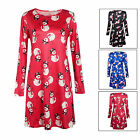 3 Color Christmas Women Flared Swing  Xmas Long Sleeve Evening Party Mini Dress