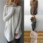 Women Autumn Winter Casual Irregular Pullover Turtleneck Sweater Knitted Top