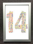 PERSONALISED WORD CLOUD ART - SIZE & FRAME CHOICES - 14th BIRTHDAY ANNIVERSARY