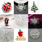 Snowflake Animal Brooch Pin Diamante Crystal Pearl Enamel Broach Charm Xmas Gift
