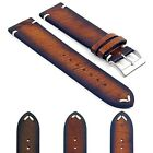 DASSARI Kingwood EXTRA LONG Mens Vintage Leather Watch Strap Band w/ Stitching