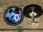 STEAMPUNK top hat goggles PANDA BEAR Altered Art CUFF LINK or HAIR PIN pair Set