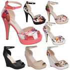 Floral Ankle Strap High Heel Stiletto Sandal Open Toe Strapy Wedge Women shoe