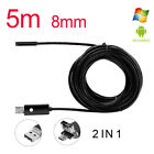 USB Endoscope 5m 6 pc LED Waterproof Borescope Inspection Camera Android video фото