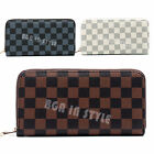 Womens Designer Checked Brown Grey Purse Wellets Coin Purses
