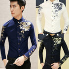 Men's Luxury Floral Long Sleeve Thin Comfy Party Pub Casual Shirt Slim Work Tops
