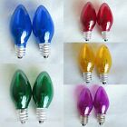 2x E12 Colored Incandescent Bulb 7W Globes, Chandelier, Candle, Light Lamp, C7