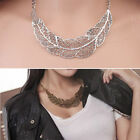 Women Vintage Leaf Gold Silver Chain Chunky Collar Hollow Necklace Fashion