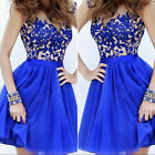 Fashion Formal Lace Prom Ball Wedding Short Maxi Dress Bridesmaid Evening Gown a