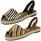 Ladies Savannah Open Toe Espadrille Sling Back Patterned Sandal - F0841