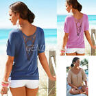 Sexy Women Summer Loose Casual Lace Batwing Short Sleeve Shirt Blouse Tops 2016