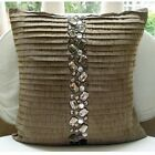 """Brown Art Silk 18""""x18"""" Crystals Pillows Cover - Almost Real"""